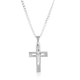 Naszyjnik stalowy z krzyżem Aisadi CP7396