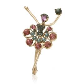 Broszka baletnica z kryształkami BR823