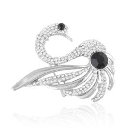 Broszka łabędź z kryształkami BR825