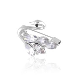 Broszka łabędź z kryształkami BR832