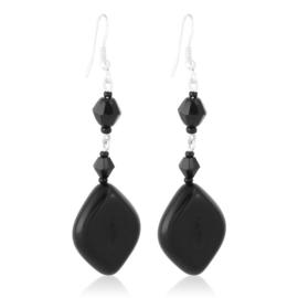 Kolczyki czeskie szlifowana perła czarna EA3991