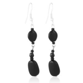 Kolczyki czeskie szlifowana perła czarna EA3992