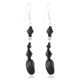 Kolczyki czeskie szlifowana perła czarna EA3993