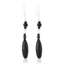 Kolczyki czeskie szlifowana perła czarna EA3994