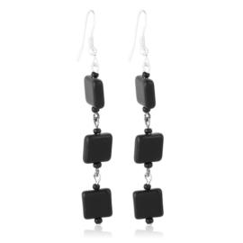 Kolczyki czeskie szlifowana perła czarna EA3996