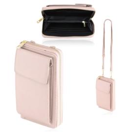 Torebka na telefon portfel crossbody różowa TD715