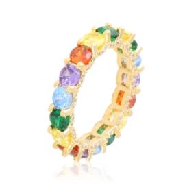 Pierścionek kolorowe kryształki PP3872