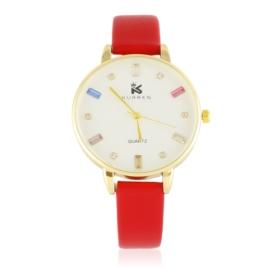 Zegarek damski na pasku - czerwony Z2935