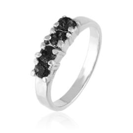 Pierścionek - Czarne kryształy - PIER170