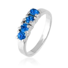 Pierścionek - Niebieskie kryształy - PIER171