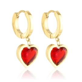 Kolczyki stalowe wiszące serca Aisadi EAP21238