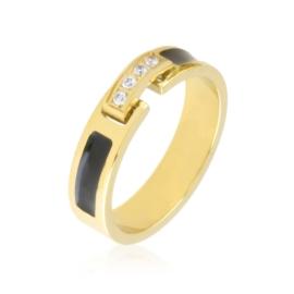 Obrączka stalowa black crystal Xuping PP3904