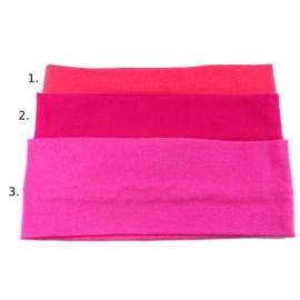 Opaska do włosów - różowa - wzór 1 - szer.7cm