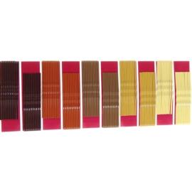 Wsuwki do włosów - mix brązów - 100szt (dł. 6cm)