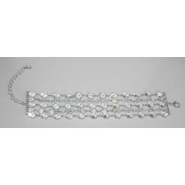 Bransoletka - srebrno-biała - długość do 24cm BC43