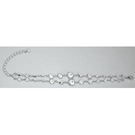Bransoletka - srebrno-biała - obwód: do 22cm BC93