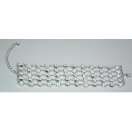 Bransoletka - srebrno-biała - długość do 24cm BC24