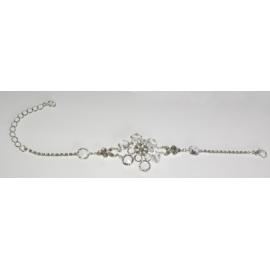 Bransoletka - srebrno-biała - obwód: do 22cm BC94
