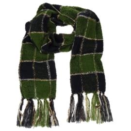 Szal - zielono-czarna kratka dł:175cm - WO27
